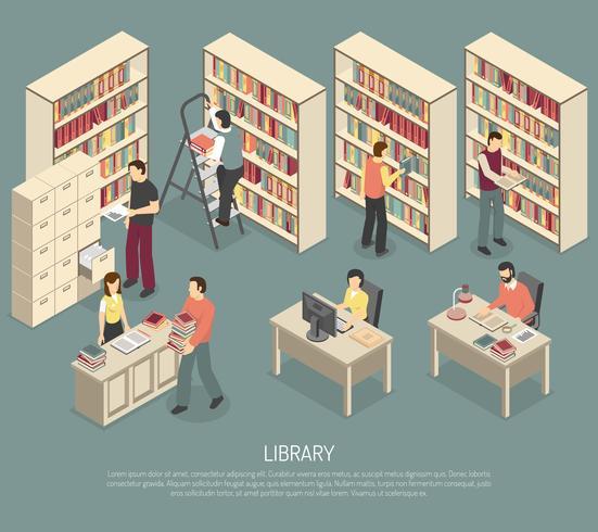 Documenten Bibliotheekarchief Interieur isometrische illustratie vector