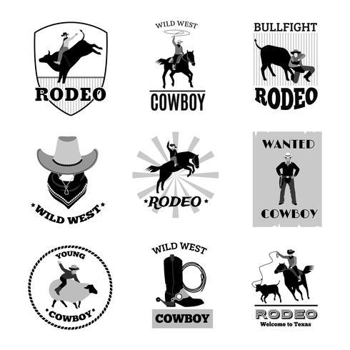 Rodeo zwarte emblemen Set vector