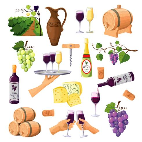 Kleur wijn pictogrammen instellen op witte achtergrond vector