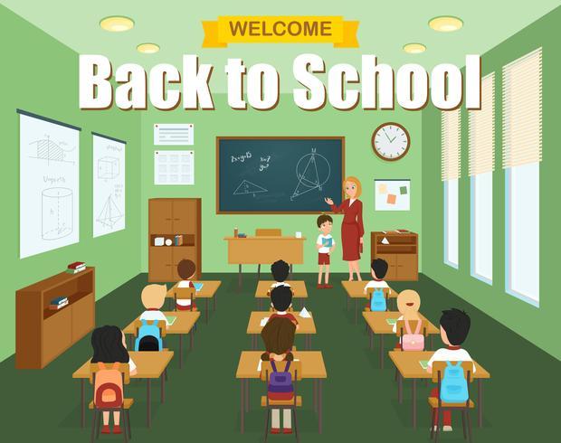 School klaslokaal sjabloon vector