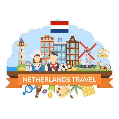 Nederland Reizen Platte Compositie vector