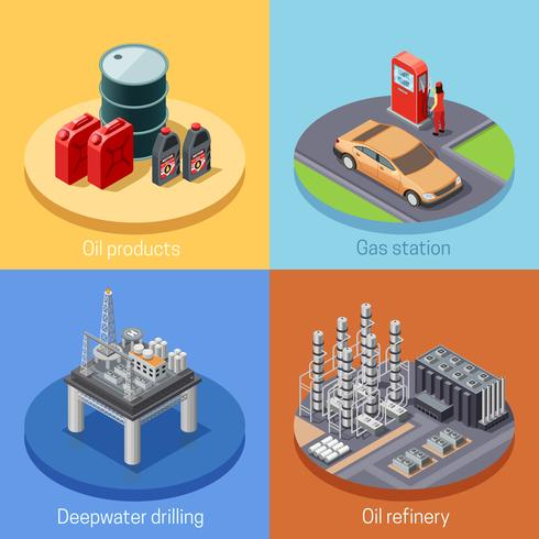 Oil Industry Isometric 4 Icos Square vector