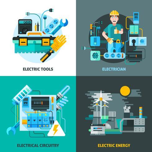 Elektriciteit Concept Icons Set vector