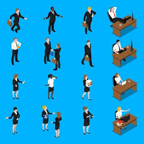 Mensen uit het bedrijfsleven werken isometrisch Icons Set vector