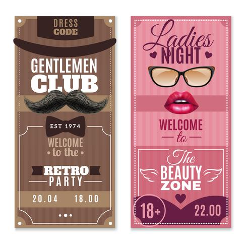 Gentlemen Ladies Special Events Banners Set vector