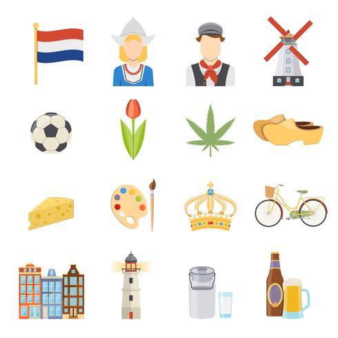 Nederland plat pictogrammen instellen vector