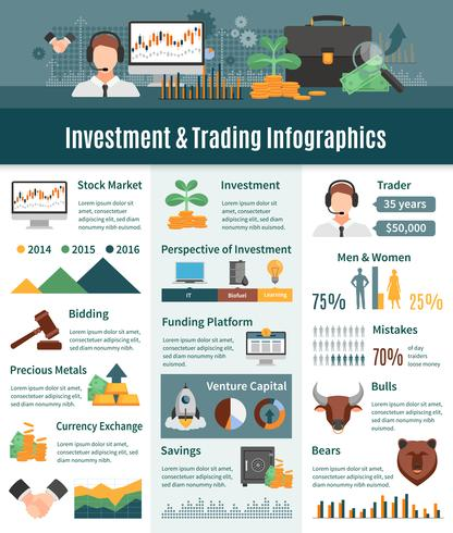 Investering en handel Infographics vector
