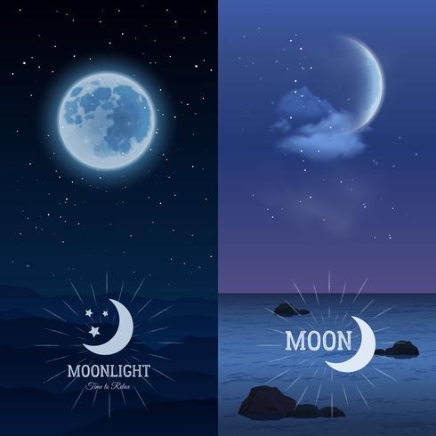 Moonlight banners verticale set vector