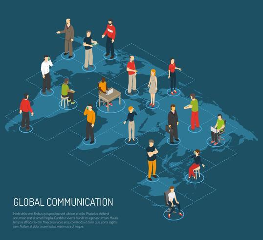 Mensen Poster van wereldwijde communicatie vector