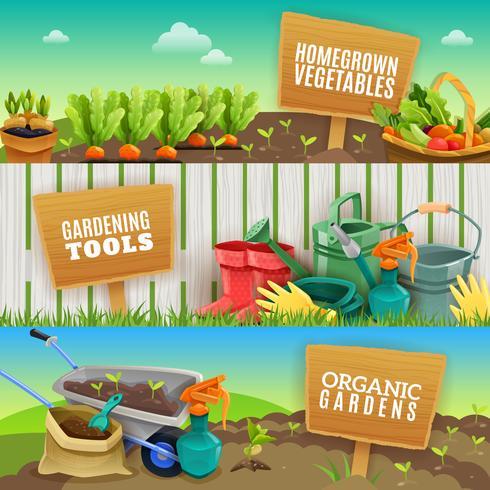 Drie tuinieren horizontale banners vector