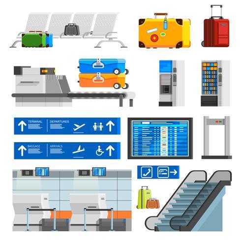 Luchthaven interieur vlakke kleur decoratieve pictogrammen instellen vector