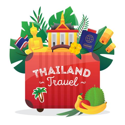 Thailand Reizen platte symbolen samenstelling Poster vector