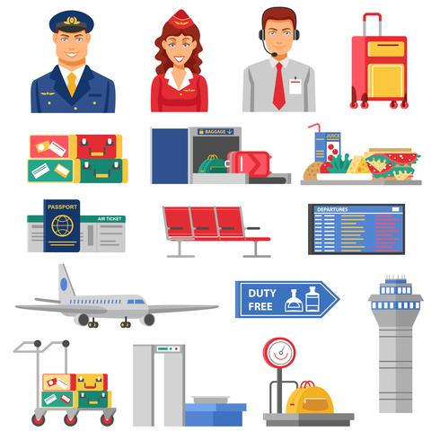 Luchthaven Icon Set vector