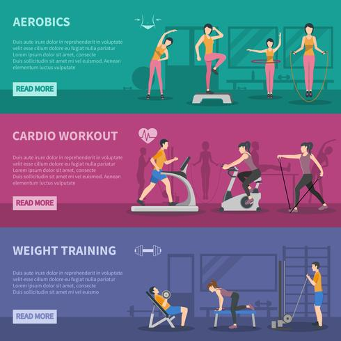 Fitness Gym Trainingsbanners vector