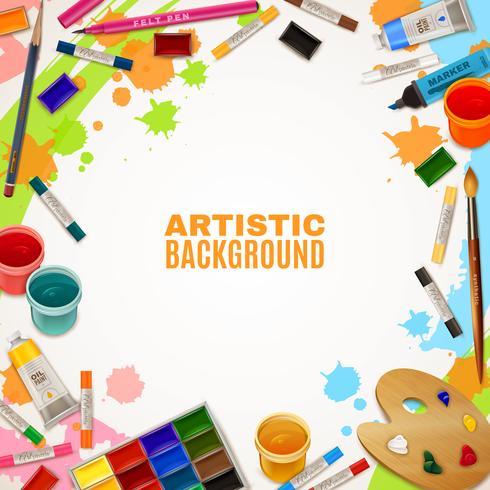 Artistieke achtergrond met hulpmiddelen voor schilderijen vector