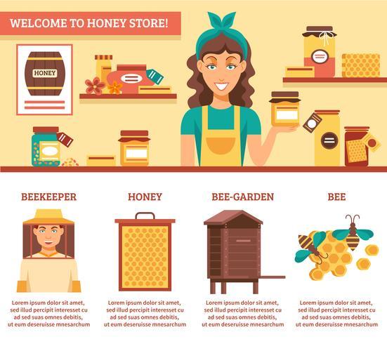 Bijenteelt Honing Infographics vector