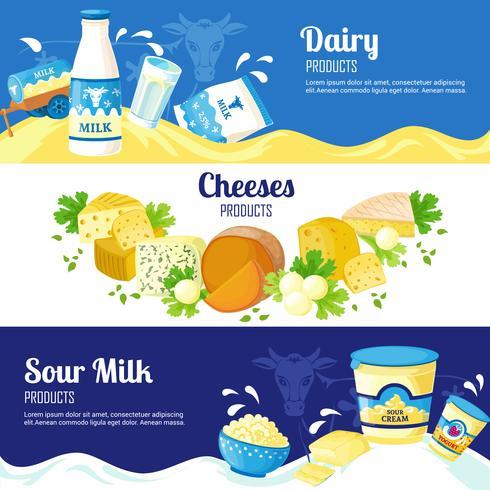 Melk en kaas horizontale banners vector
