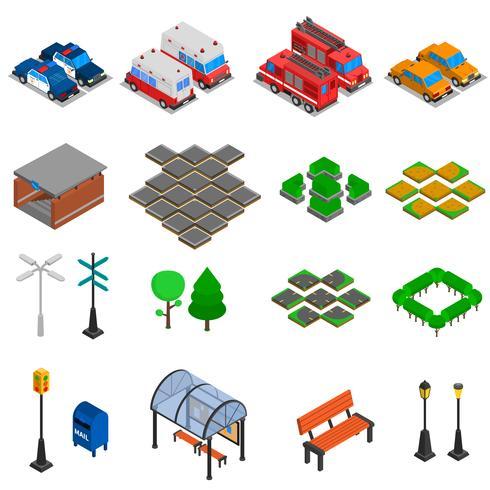 stedelijke infrastructuurelementen ingesteld vector