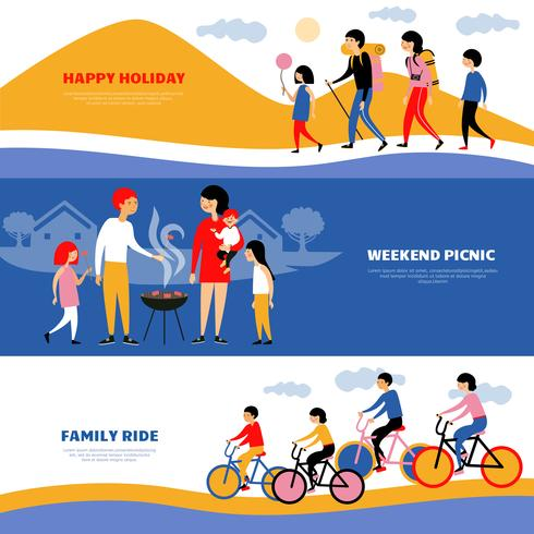 Family Holiday Picnic 3 Banners Set vector