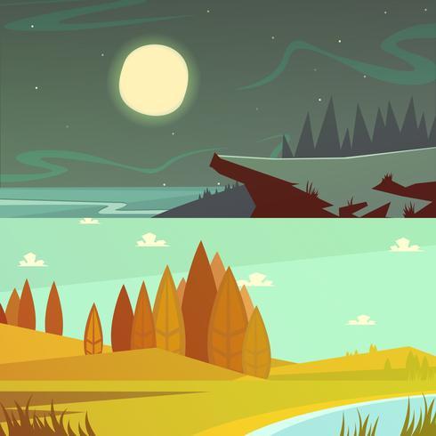 Camping Cartoon Banners Set vector