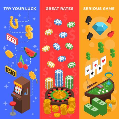 Casino isometrische verticale banners vector