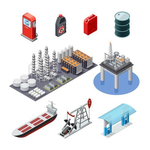 Olie-industrie isometrische pictogrammen instellen vector