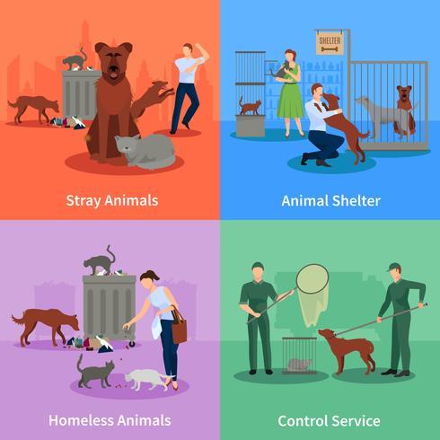 Verdwaalde dieren Icons Set vector