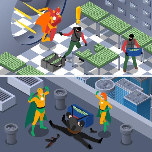 Superhero isometrische banners instellen vector