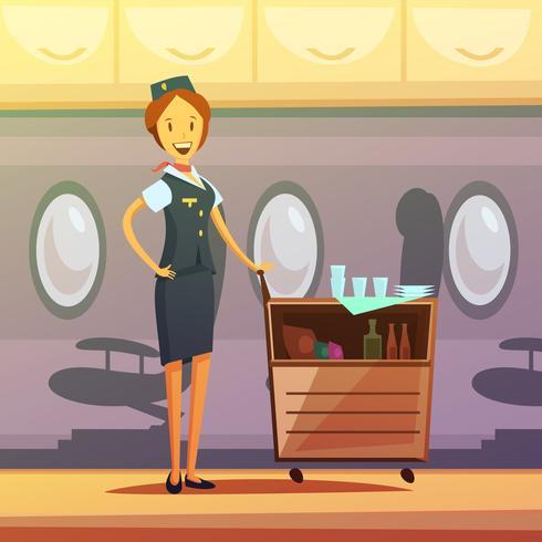 Stewardess Cartoon Illustratie vector