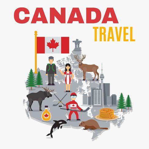 Decoratieve kaart Canada Poster vector