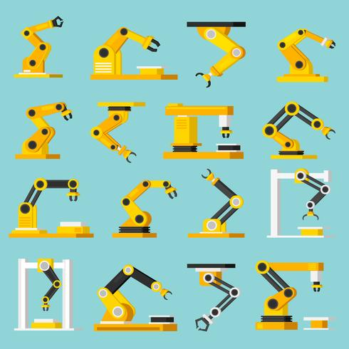 Automatisering transportband orthogonal plat pictogrammen instellen vector