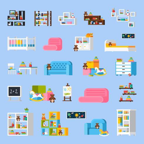 Babykamer meubels platte decoratieve pictogrammen vector