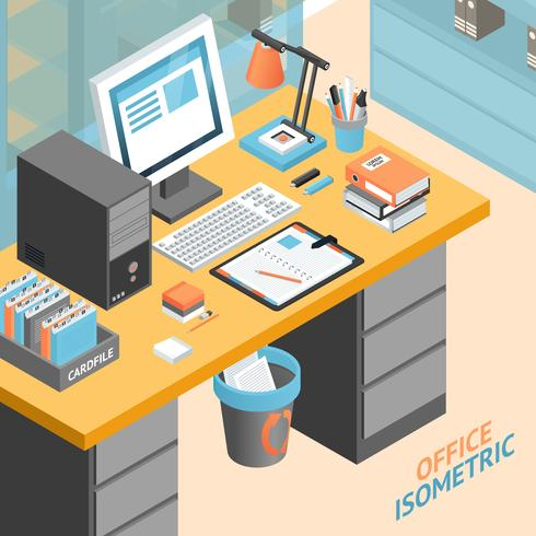 Office kamer isometrische ontwerpconcept illustratie vector