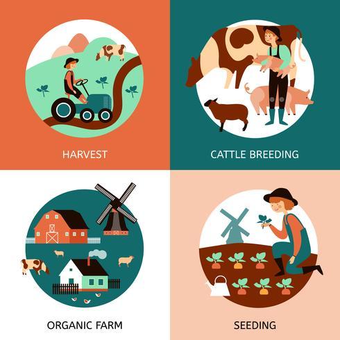 Organische boerderij 4 plat pictogrammen Banner vector
