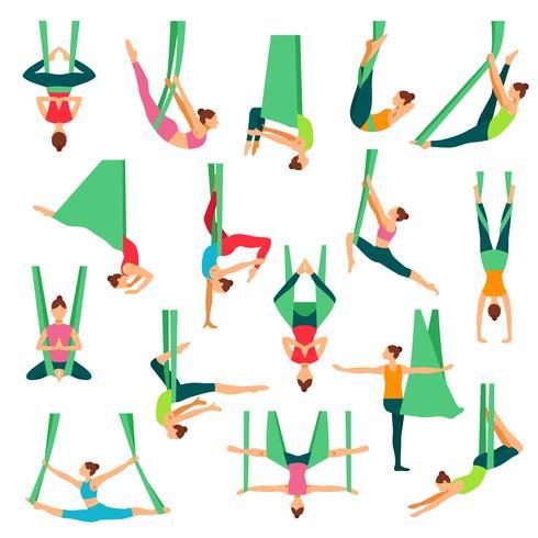 Aero Yoga decoratieve Icons Set vector