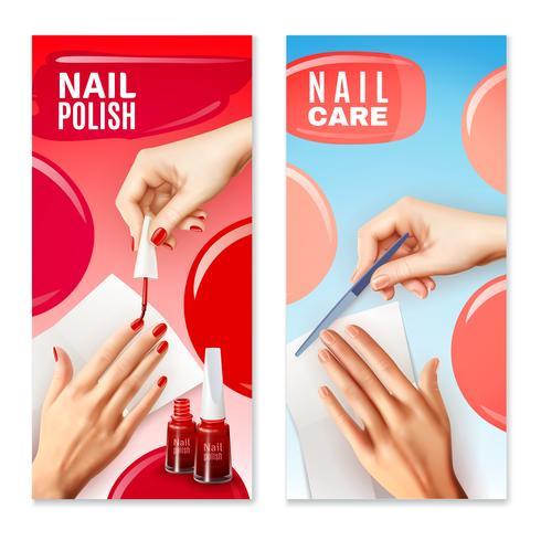 Nagelverzorging Polish 2 Banners Set vector