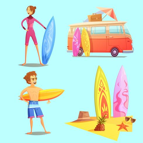 Surfen Retro Cartoon 2x2 Icons Set vector