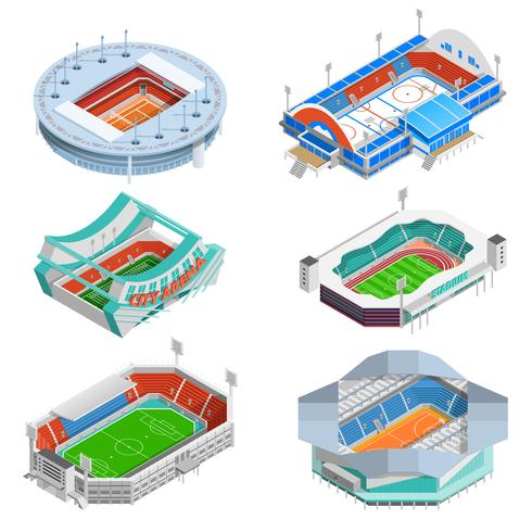 Stadion Icons Set vector