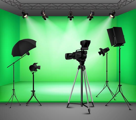 Realistisch groen scherm Studio-interieur vector
