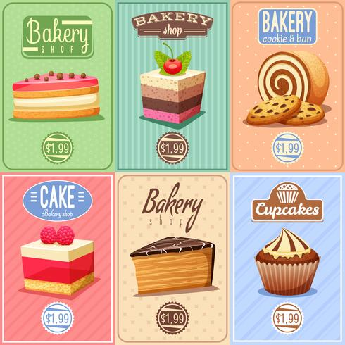 Cakes and Sweets Mini-posterscollectie vector