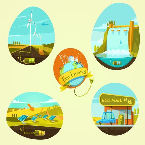 Ecologische energie cartoon set vector
