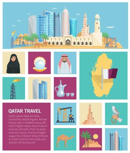 Qatar cultuur platte pictogrammenset vector