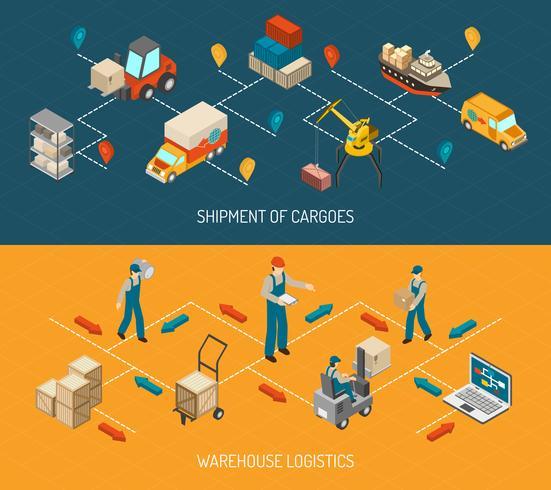 Logistieke levering en magazijn Banners Set vector