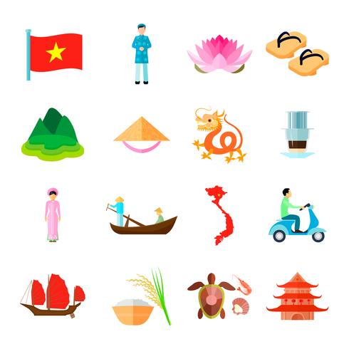 vietnam icons set vector