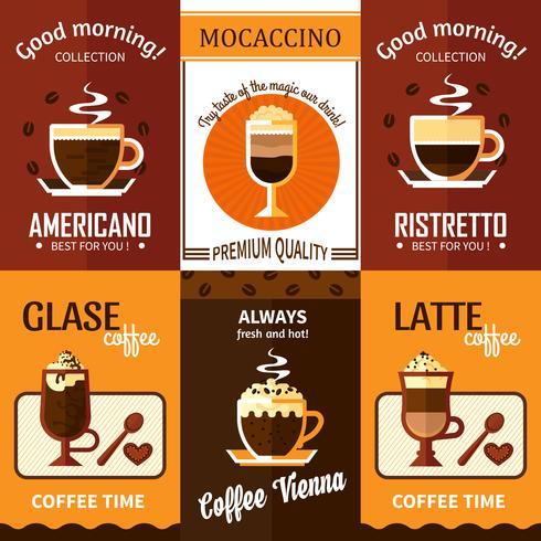 Set van zes koffie posters vector