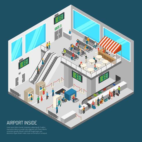 binnen luchthaven isometrische poster vector