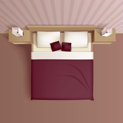 Slaapkamer interieur Bovenaanzicht realistisch beeld vector