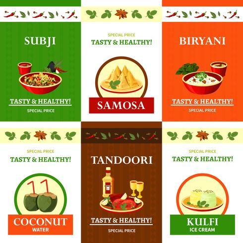 Indiase keuken vlakke pictogrammen instellen Poster vector