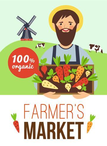Boerenmarkt biologische producten Flat Poster vector