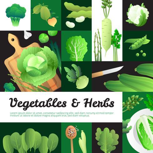 Organische groene groenten Banners samenstelling Poster vector